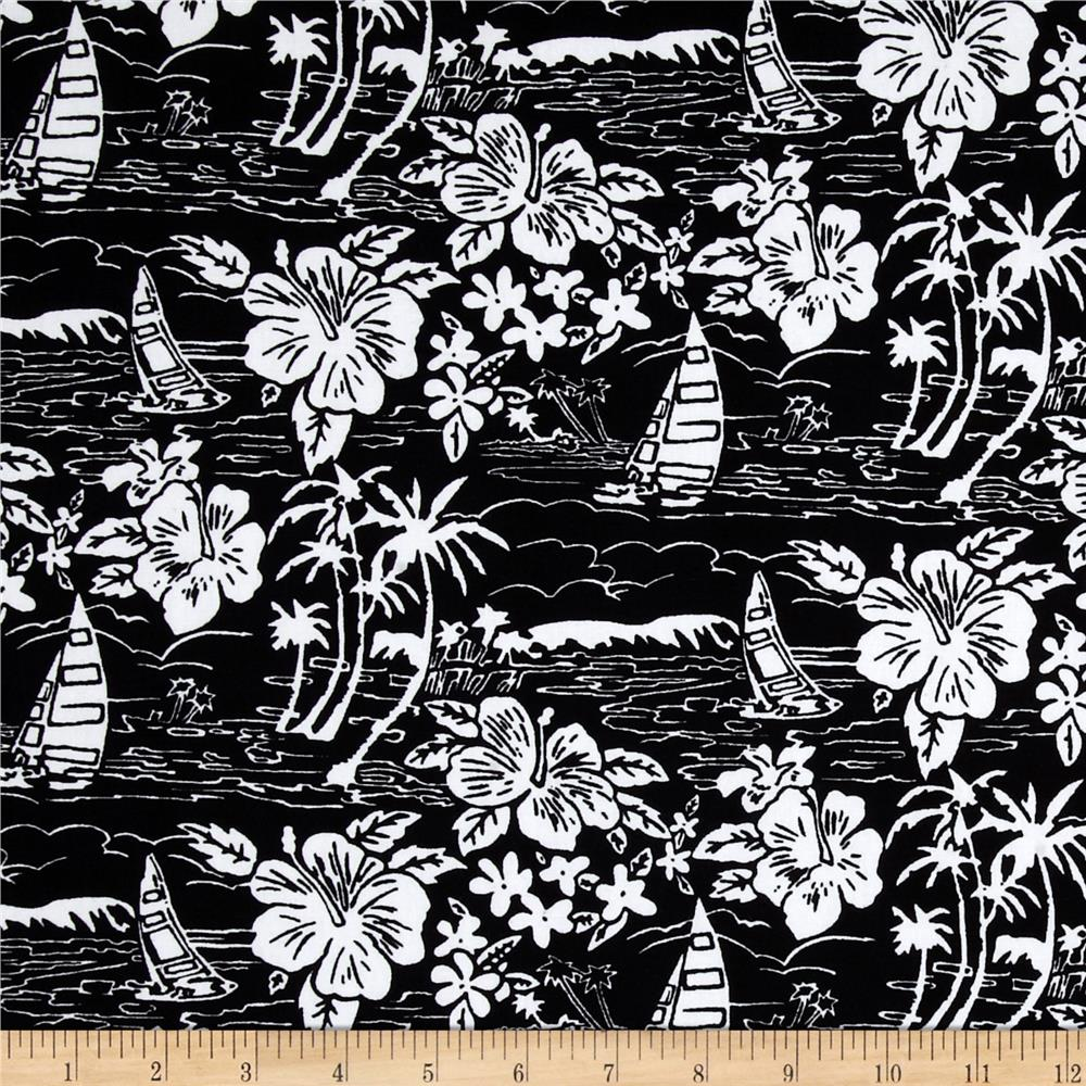Hoffman Tropicals Sailboats and Flowers Midnight
