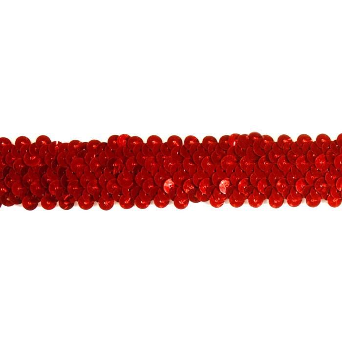 "1 1/4"" Stretch Metallic Sequin Trim Red"