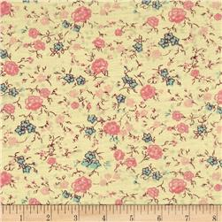 Jersey Knit Pink Floral Yellow
