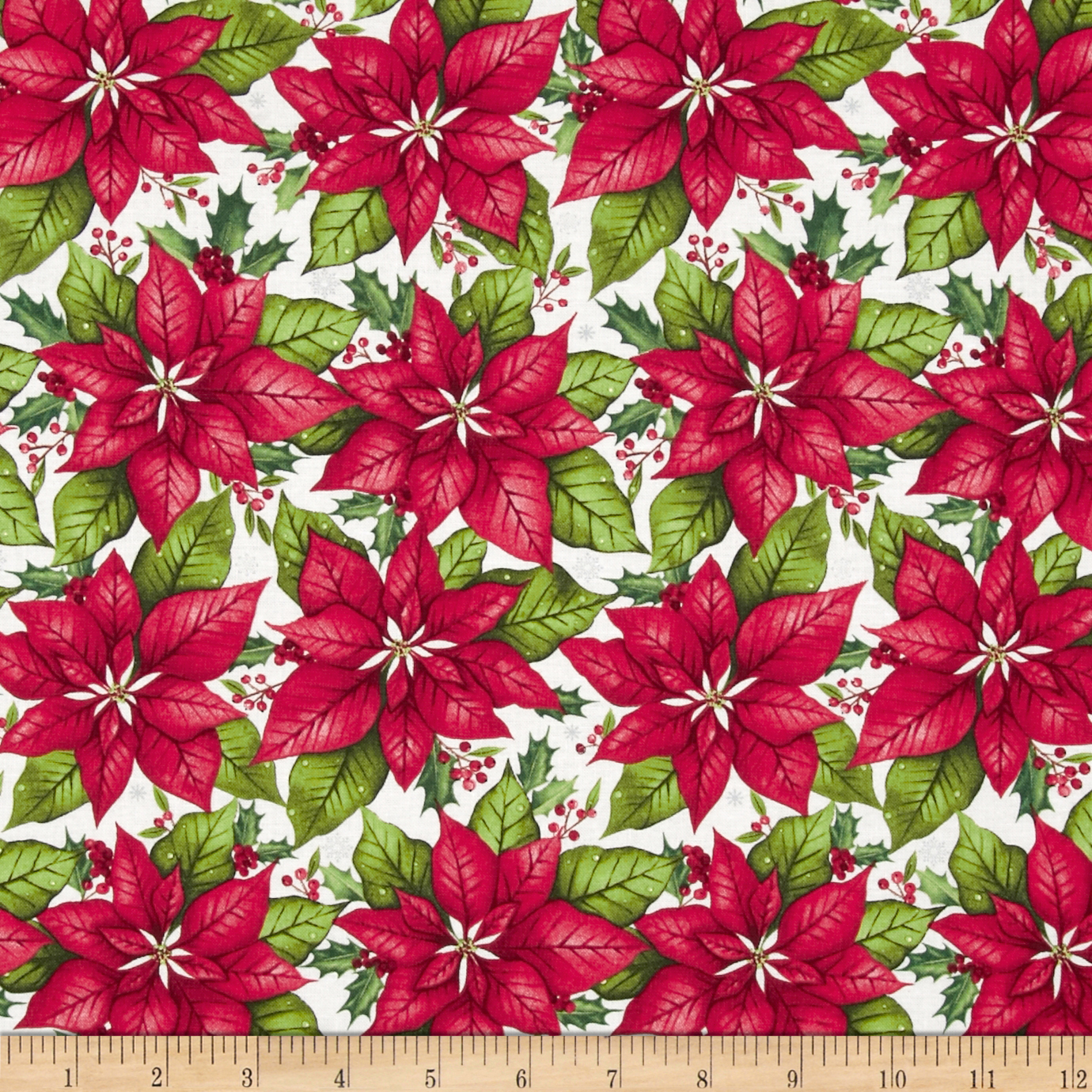 O' Christmas Tree Poinsetta Red Fabric