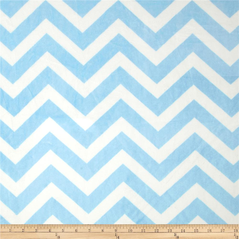 Minky Chevron Cuddle Baby Blue/White