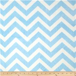 Minky Chevron Cuddle Baby Blue/White Fabric