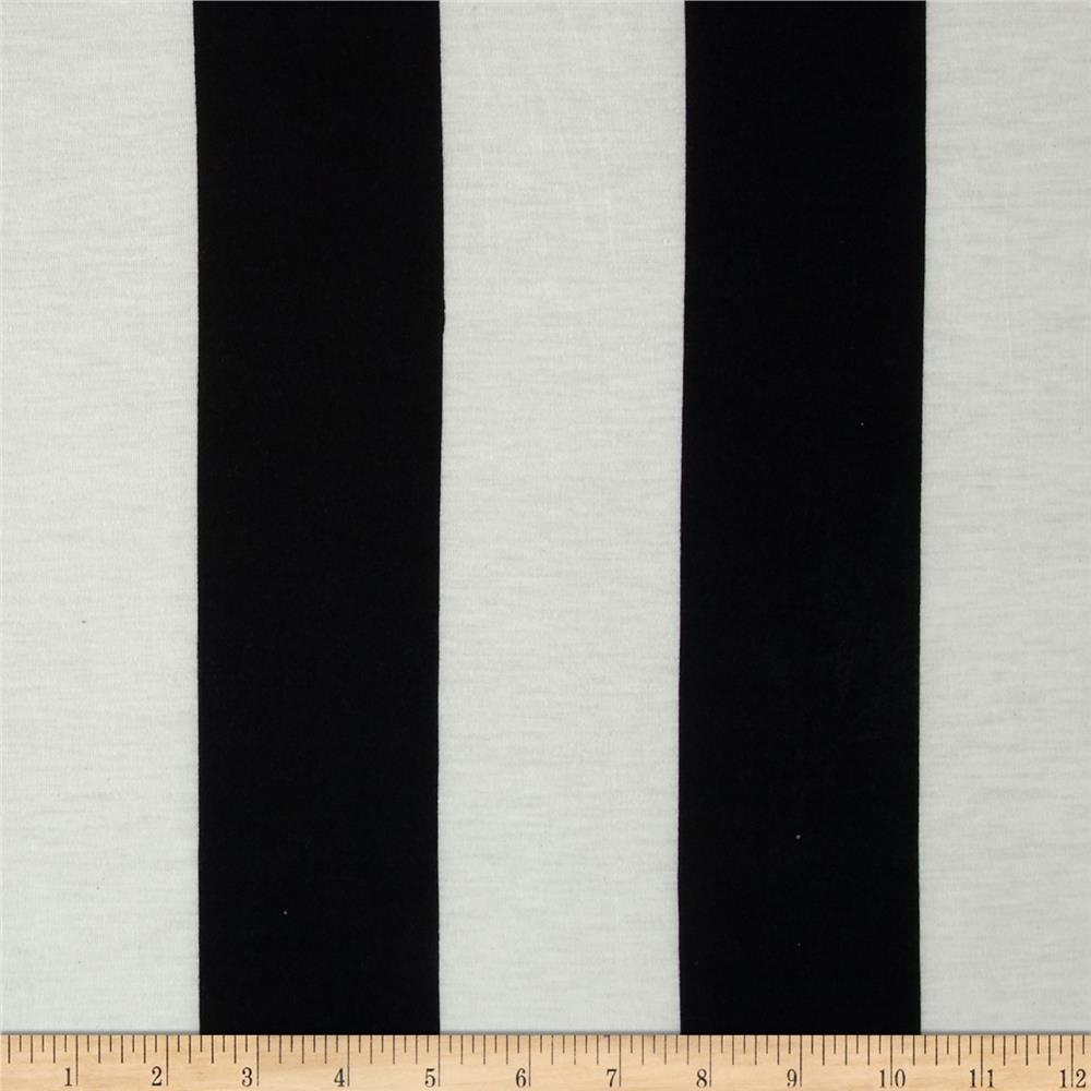 Soft Jersey Knit Large Stripes Off White/Black