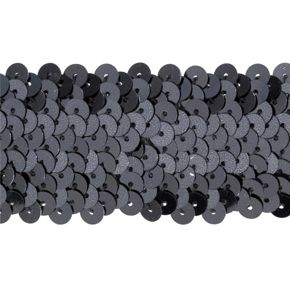 "1 1/2"" Metallic Stretch Sequin Trim Gunmetal"