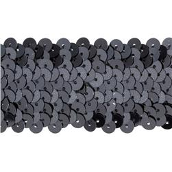 1 1/2'' Metallic Stretch Sequin Trim Gunmetal