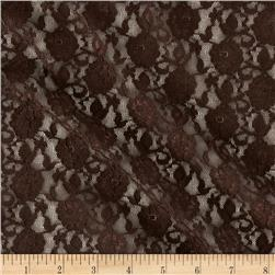 Stretch Floral Lace Brown