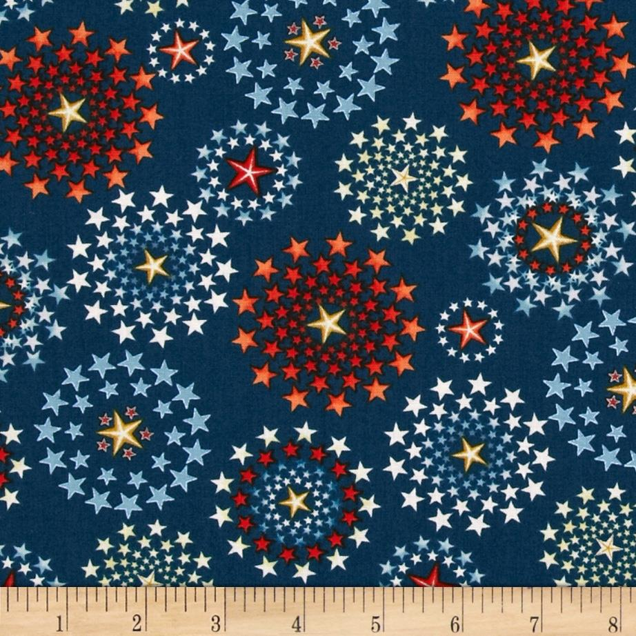 Star spangled bandana fireworks navy discount designer for Star design fabric