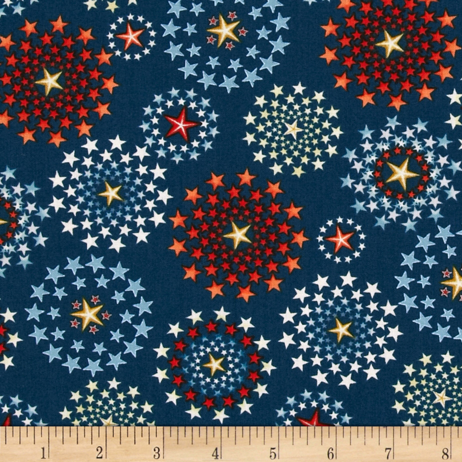 Star Spangled Bandana Fireworks Navy Fabric