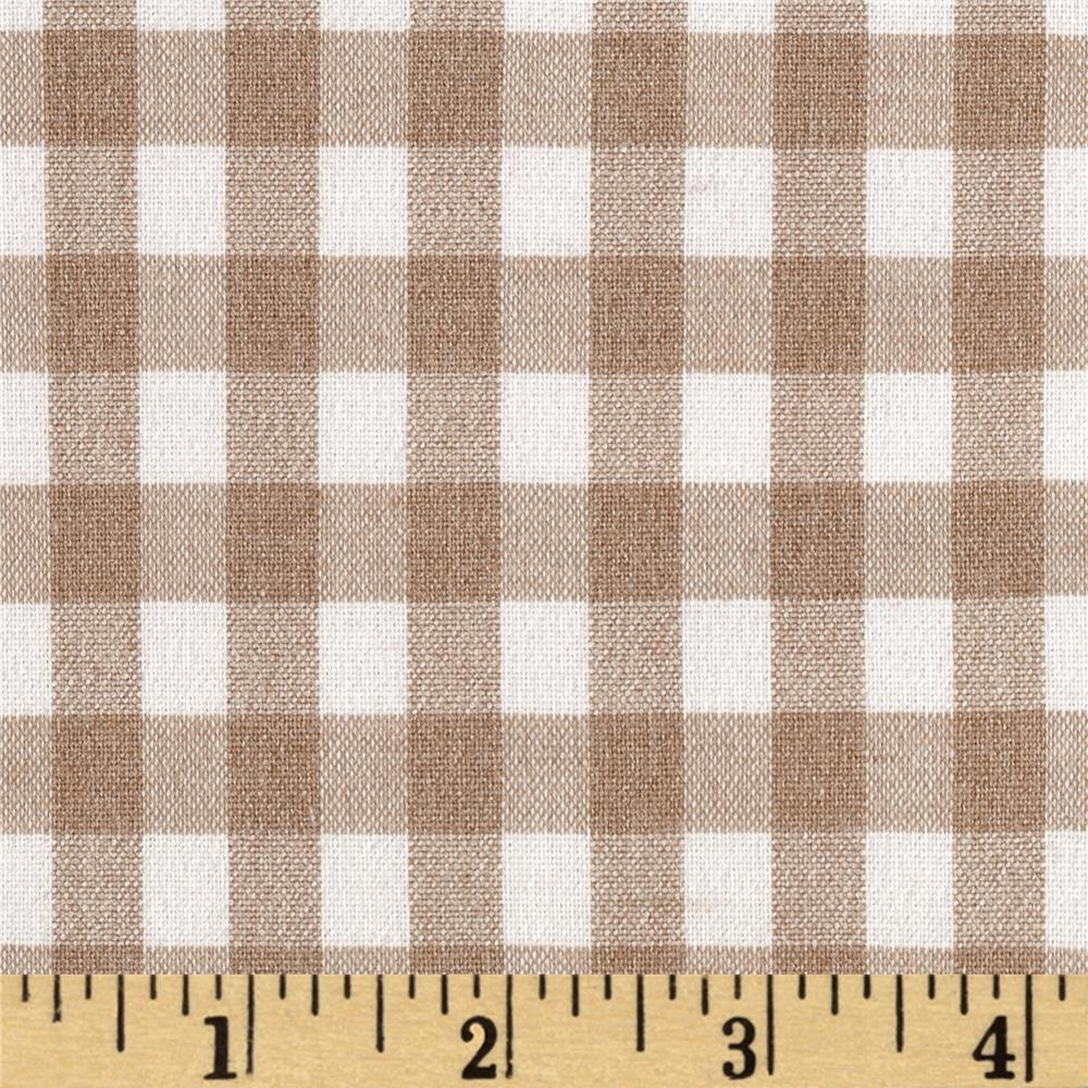 Stretch Poly Cotton Gingham Poplin Tan/White