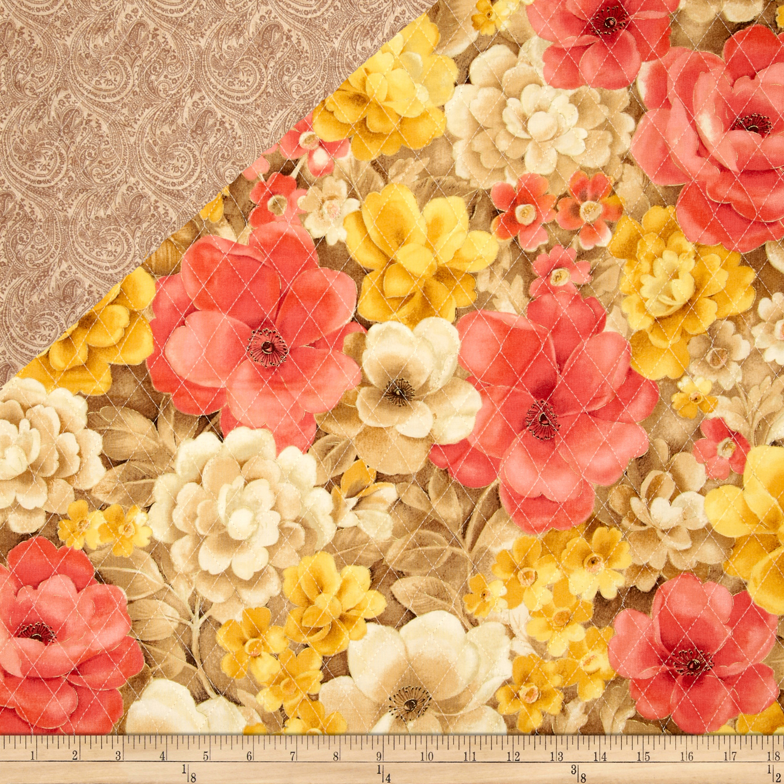 Topaz Double Face Quilted Floral Multi Fabric