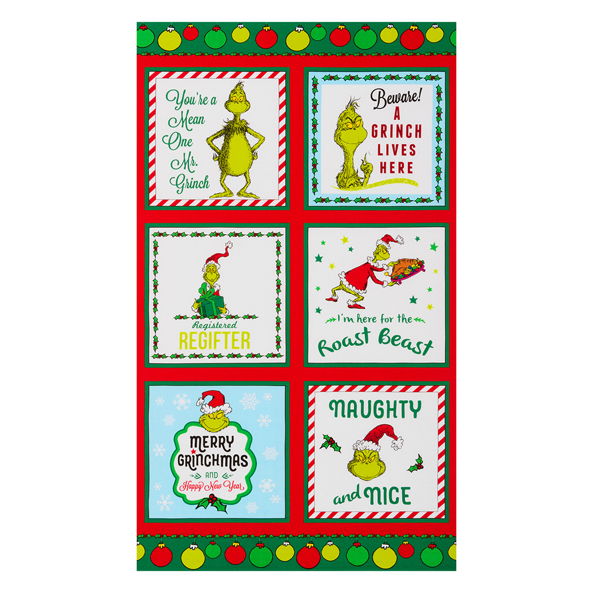 Kaufman Grinch 24'''' Panel Holiday Fabric