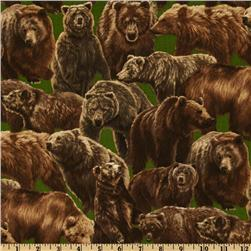Living Wonders Bears Green/Brown Fabric