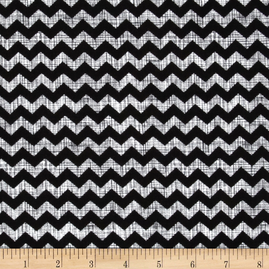 Timeless Treasures Ziggy Small Chevron Piano Black/White Fabric