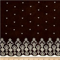 Embroidered Lawn Single Border Brown/Cream
