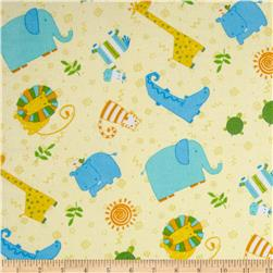 Jungle Buddies Flannel Animal Toss Yellow