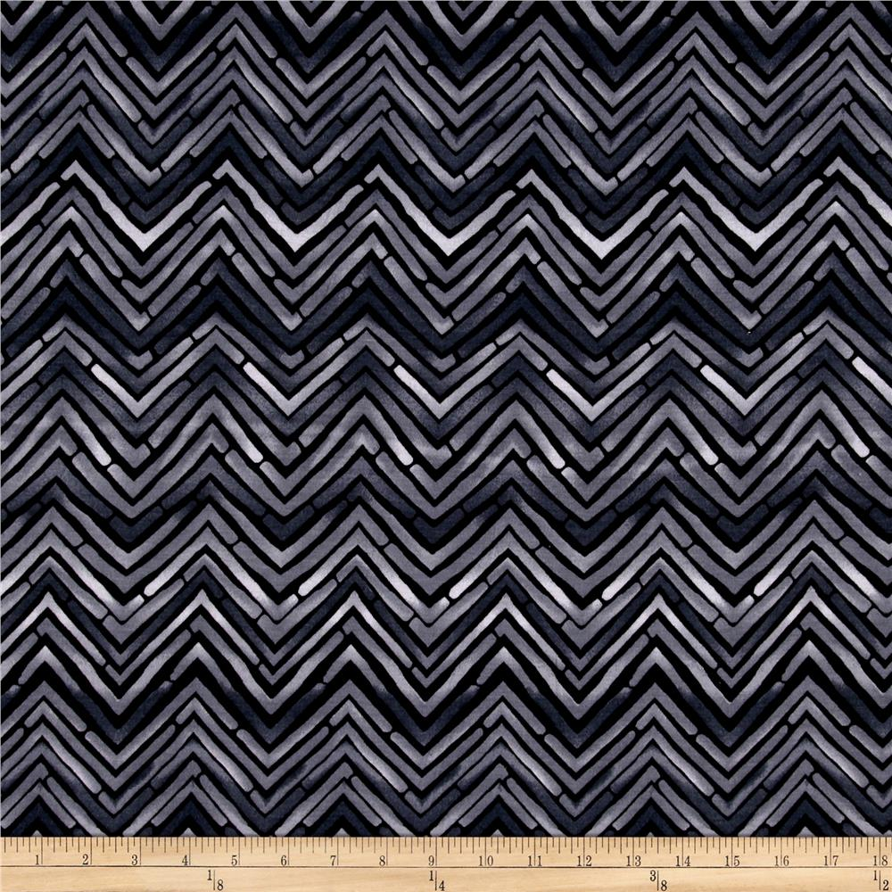 Jersey Knit Cobbled Zig Zag Print Grey/Black
