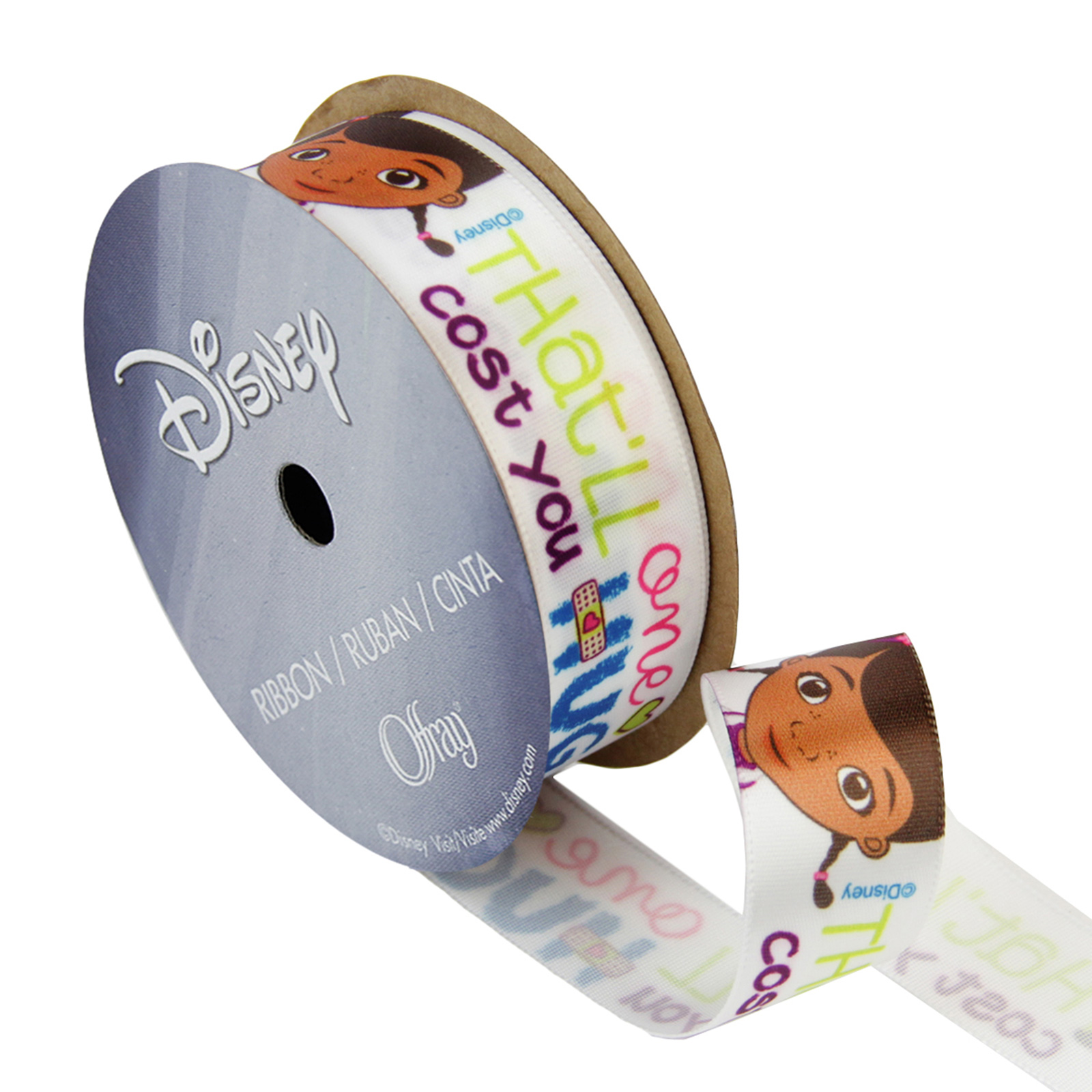 7/8'' Doc McStuffins Ribbon Bandaid White by Stardom Specialty in USA