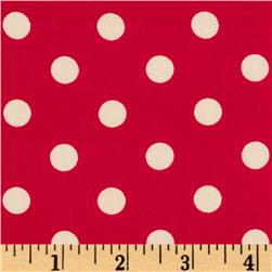 Crepe Georgette Polka Dots Red/White