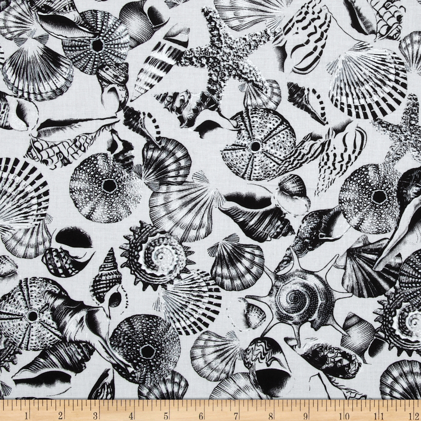 Kanvas Neptune's Dream Tossed Seashell Black/White Fabric