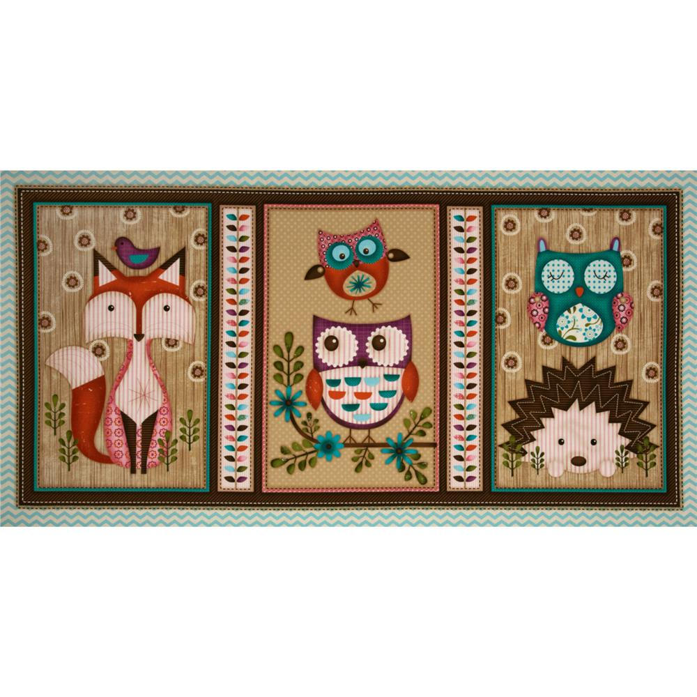 Woodland Critters Patchwork Panel Beige/Multi