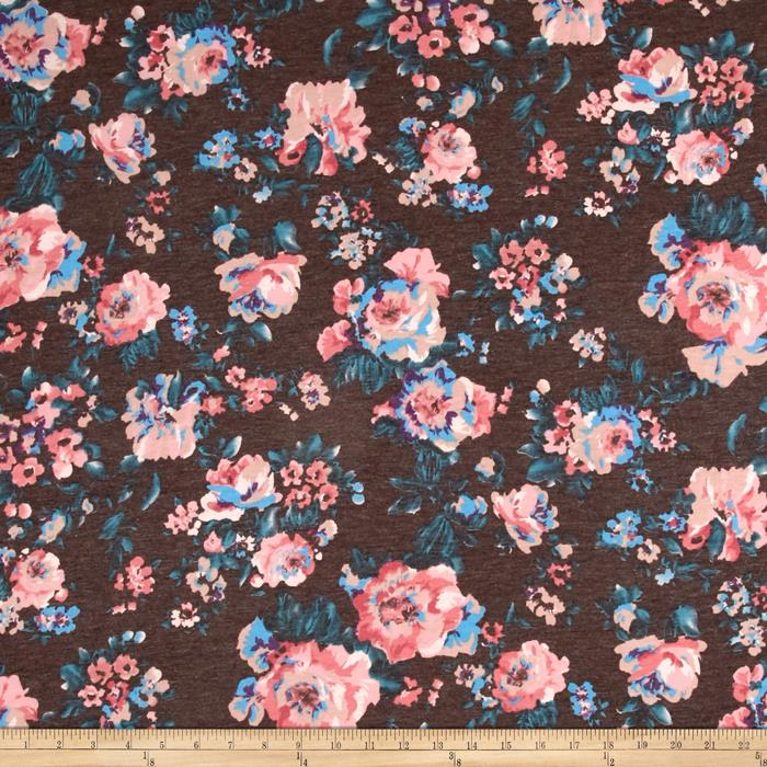 Jersey Knit Floral Gey Multi