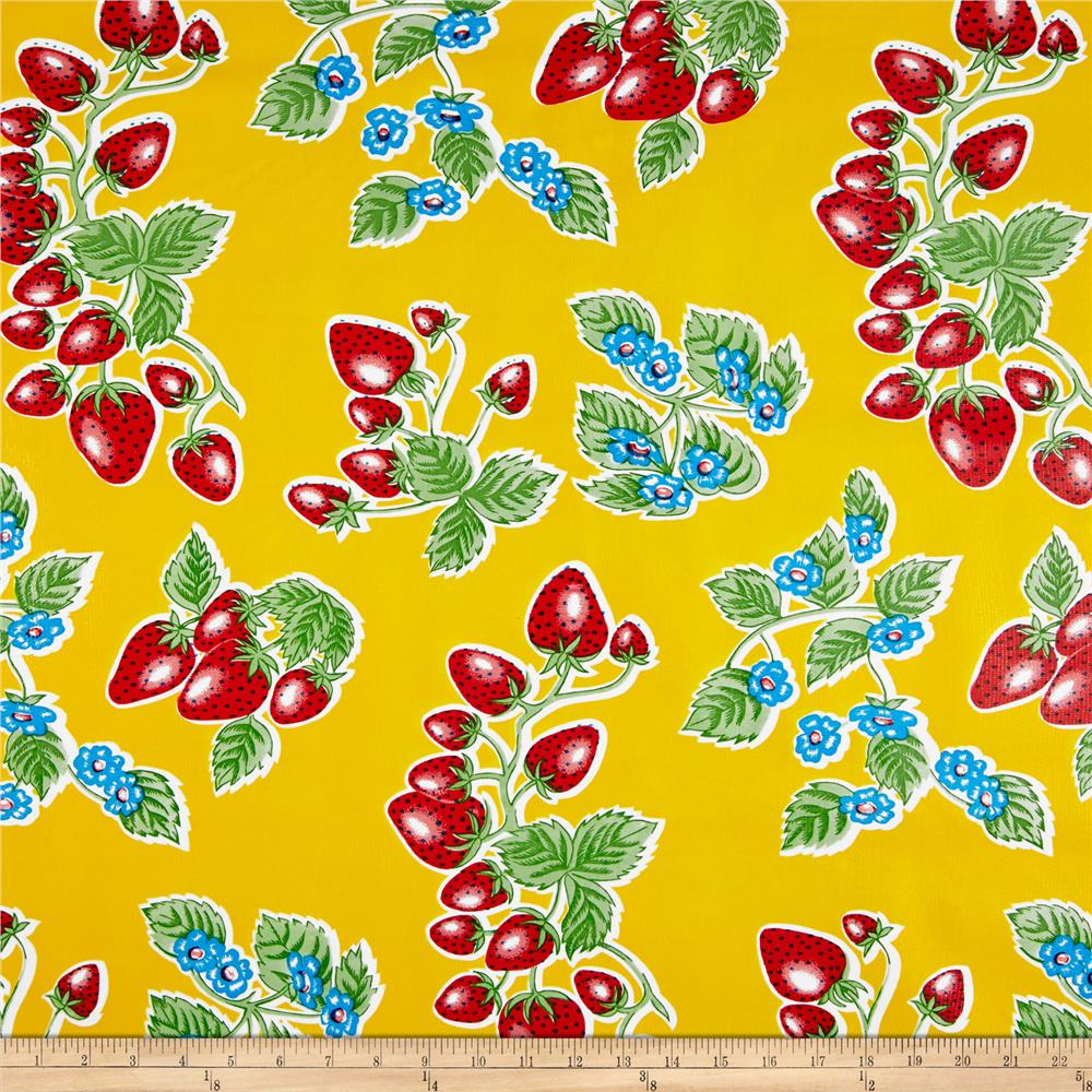 Oil Cloth Strawberries Yellow