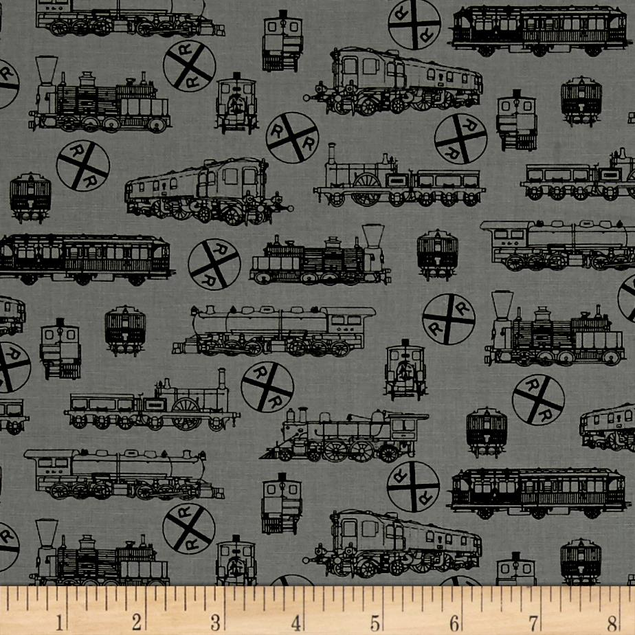 A ticket to ride small trains grey discount designer for Fabric with trains pattern