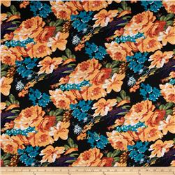 Stretch Ponte de Roma Knit Florals Black/Light Orange