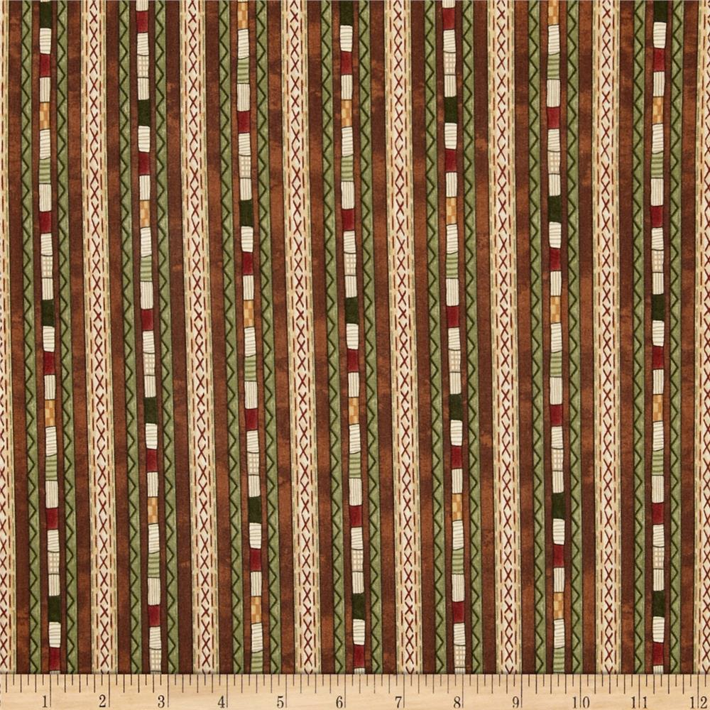 Stitching in the Woods Decorative Stripe Brown/Multi