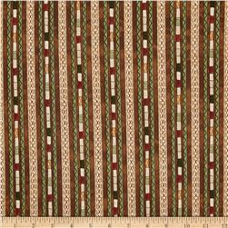 Stitching in the Woods Decorative Stripe Brown/Multi Fabric