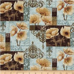 Windflower Patchwork Floral Blue/Brown