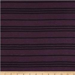 Designer Yarn Dyed Jersey Knit Stripes Eggplant/Black