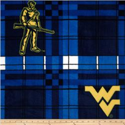 West Virginia University Fleece Plaid Blue Fabric