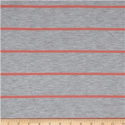 Yarn Dyed Jersey Knit Grey/Coral