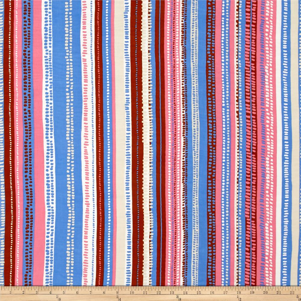 Rayon challis dots stripes brown pink blue discount for Rayon fabric
