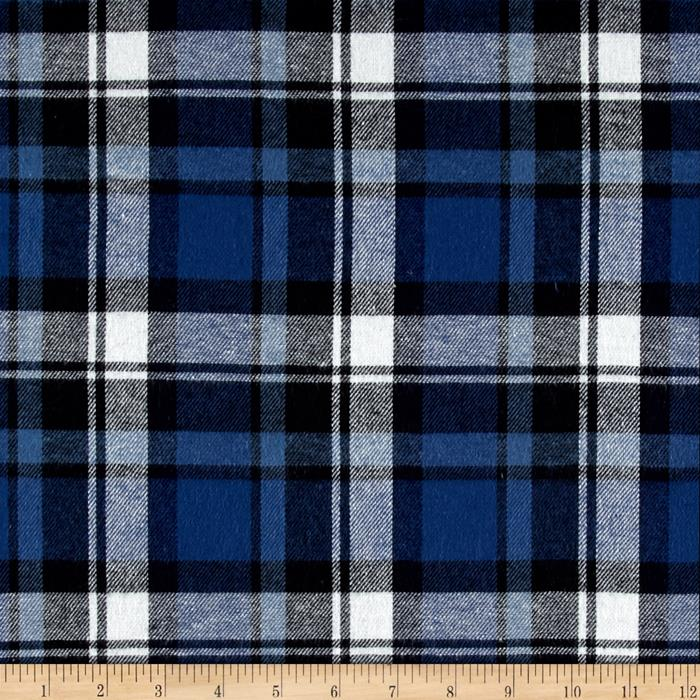 Yarn Dyed Flannel Plaid Denim Fabric By The Yard