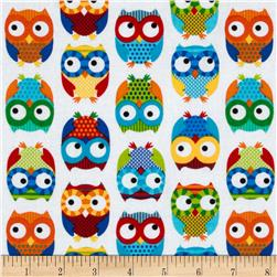 Timeless Treasures Owls White Fabric