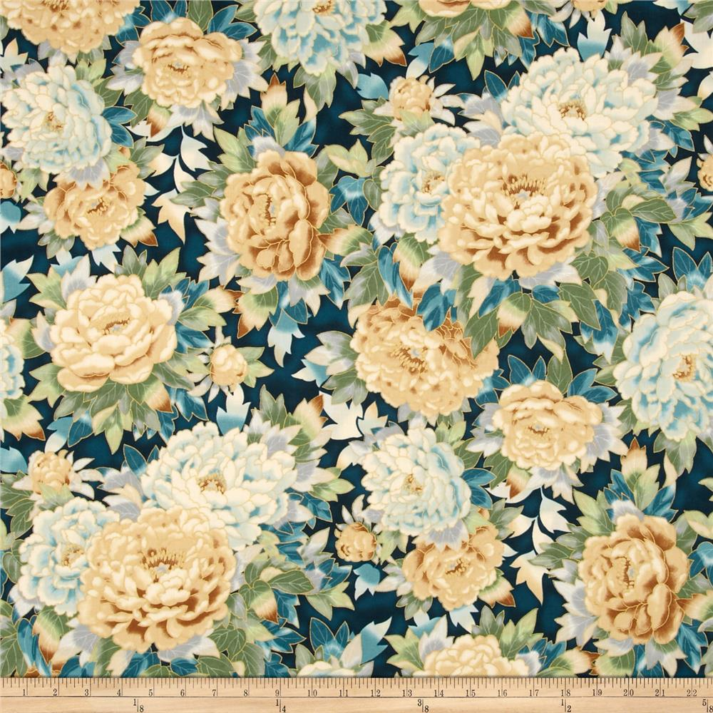 Kaufman Imperial Collection Metallic Large Flowers Spring