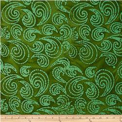 Indian Batiks Paisley Scroll Green