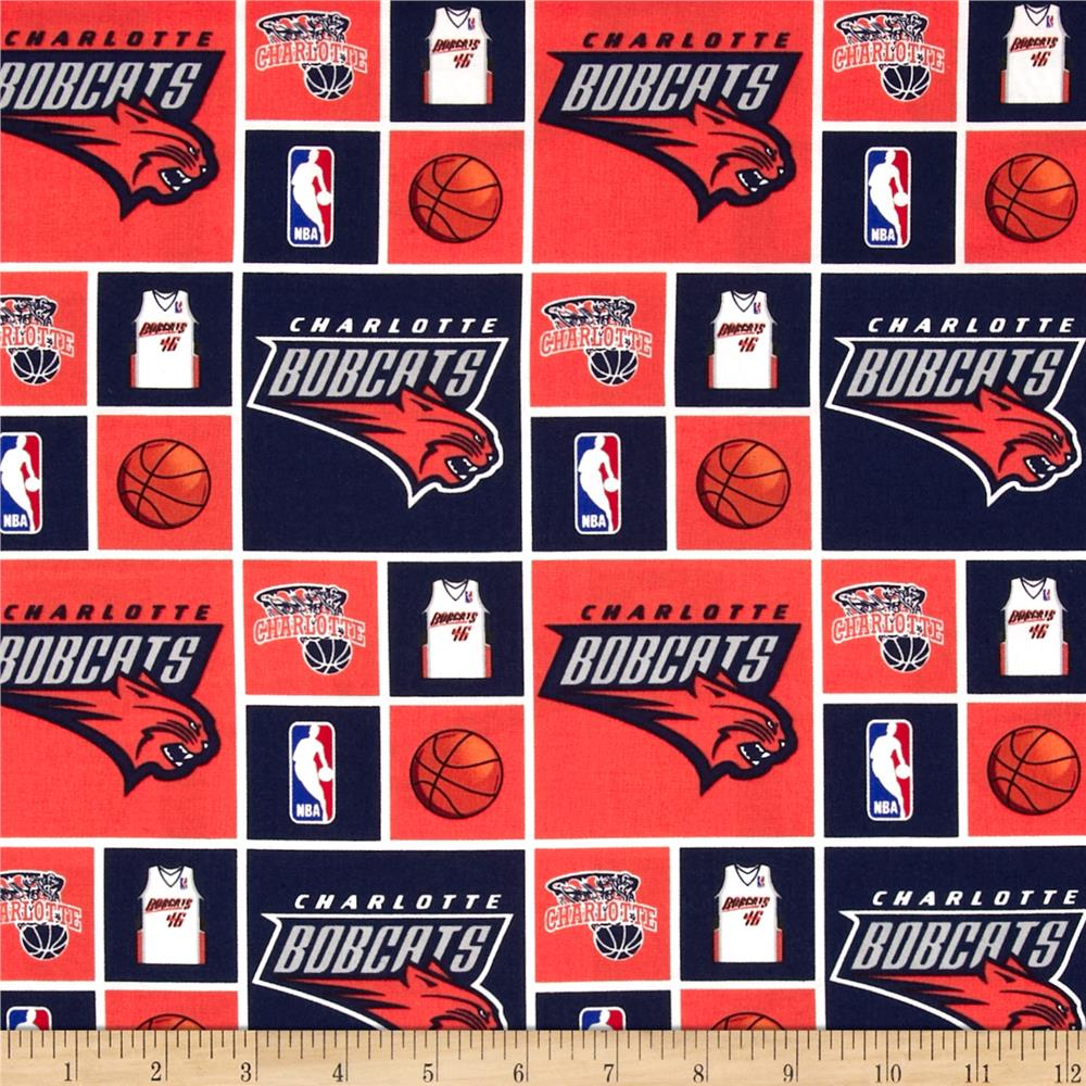 NBA Cotton Broadcloth Charlotte Bobcats Blocks Blue/Orange