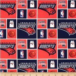 NBA Cotton Broadcloth Charlotte Bobcats Blocks Blue/Orange Fabric