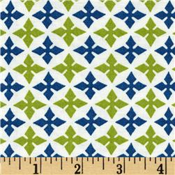 Dear Stella Geometric White/Lime/Blue Fabric