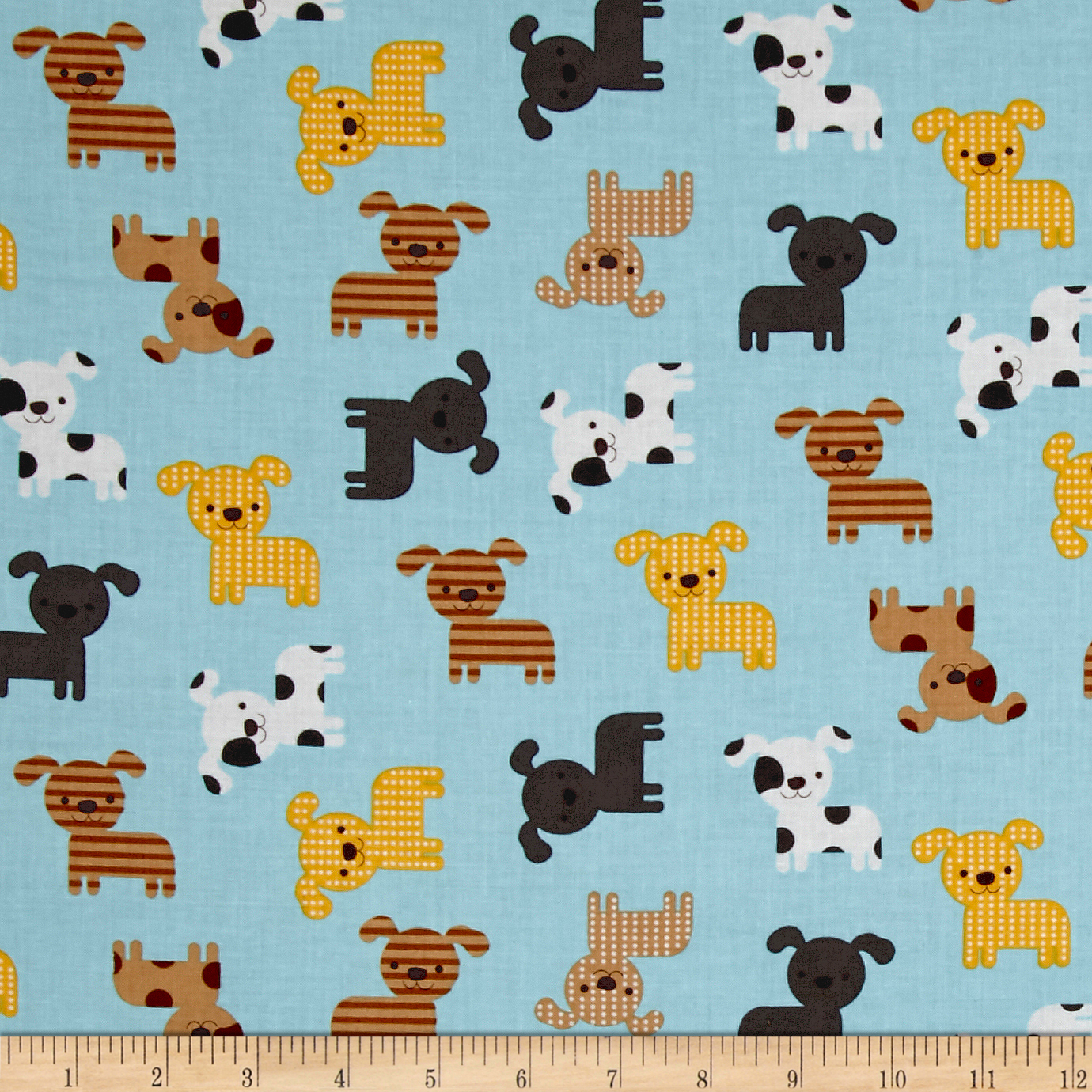 Kaufman Urban Zoology Little Dogs Park Fabric