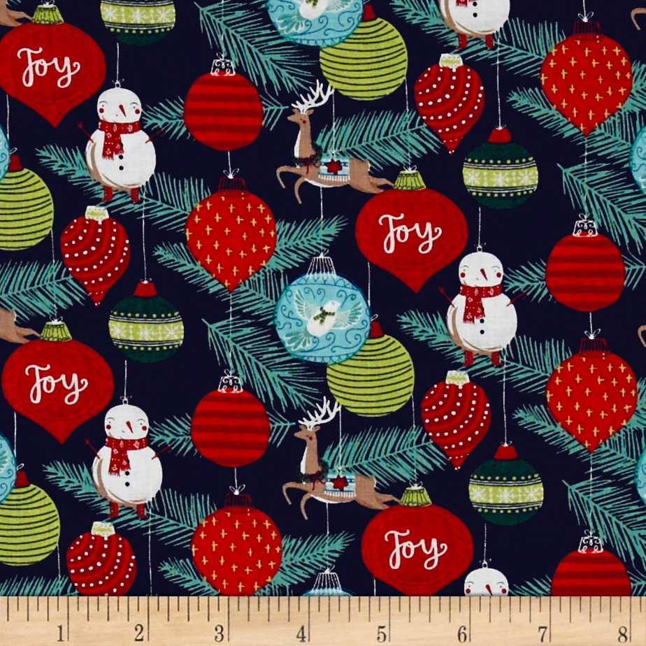 25 Days of Christmas Toile Dark Gray Fabric By The Yard