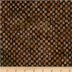 Moda Pine Island Batiks Checks Steel Brown