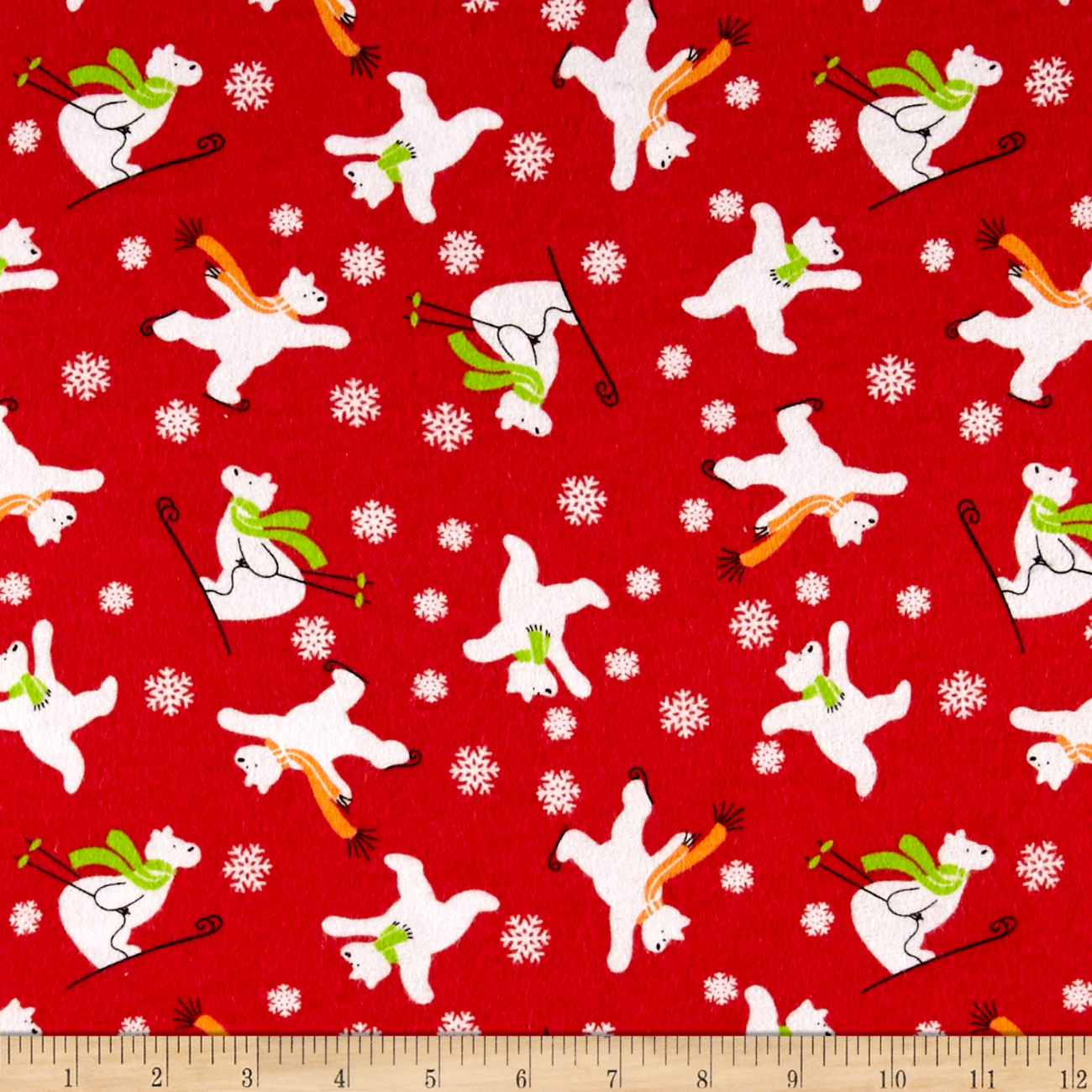 Skating Bears Flannel Red Fabric by Newcastle in USA