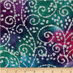 Indian Batik Crinkle Cotton Scroll Teal/Fuschia/Aqua