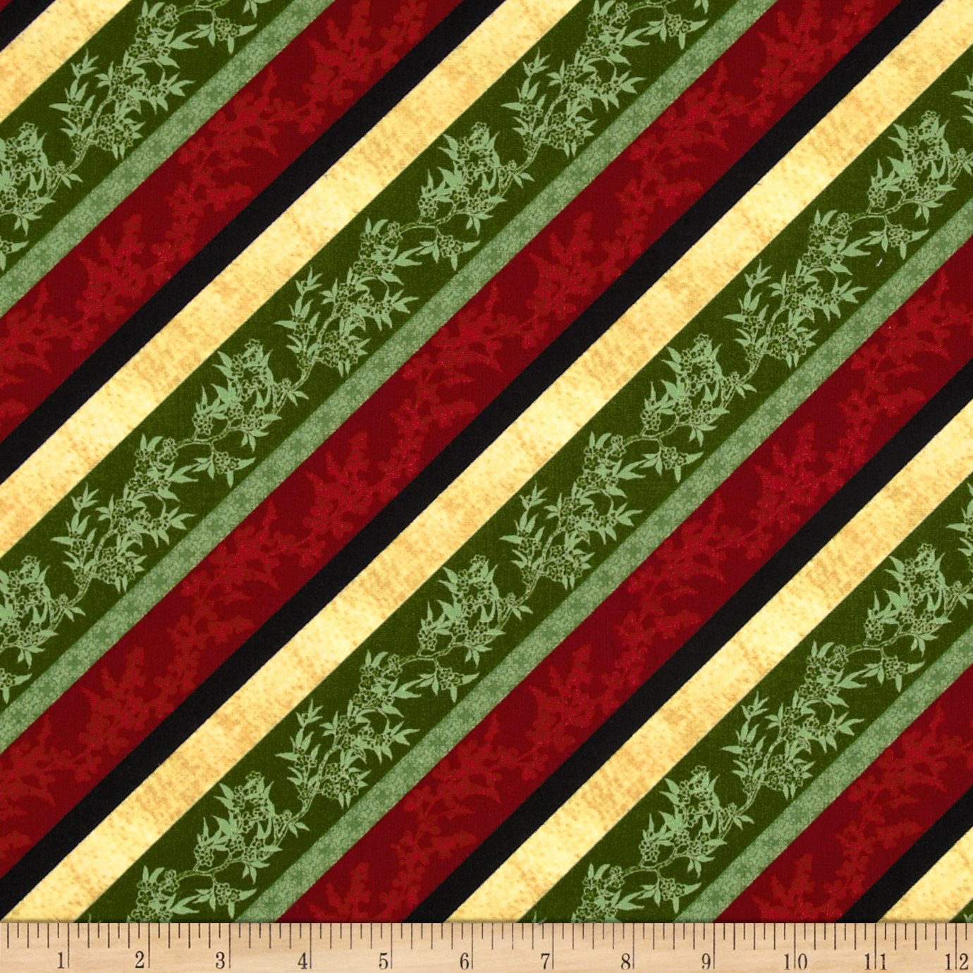 Bouquet Moderne Roses Diagonal Stripe Green/Multi Fabric