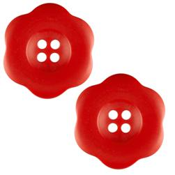 "Riley Blake Sew Together 2"" Flower Matte Button Red"