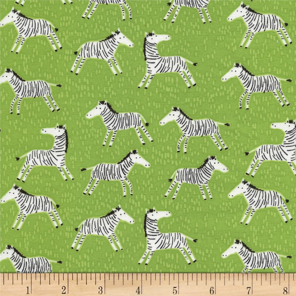 Timeless Treasures Born To Be Wild Zebras Green